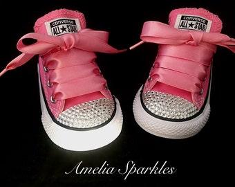 Pink Crystal Bling Converse Kids Infant Toddler Baby