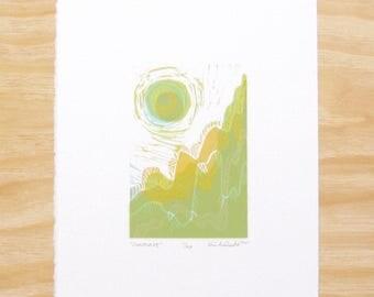 "Woodcut Print - ""Sunscape"" - Landscape with Sun - Printmaking"