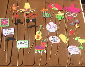 Mexican Theme Photo Booth props/ 1st FIESTA Photo Booth props/ Mexican Fiesta Photo Booth props
