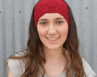 Red Knitted Headband, Wool headband, Knitted ear warmers