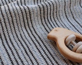 Wool Baby Blanket - Merino and Lurex Black Stripe