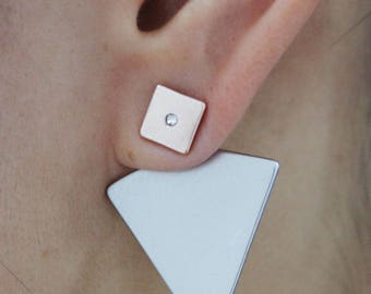 Geometric metallic two tones diamante embossed ear jacket, spear ear jacket, metallic ear jacket