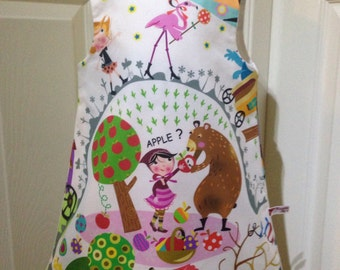 Pretty girls pinafore dress, 100% cotton, Inkalily Enchanted Forest, fully lined, age 2/3