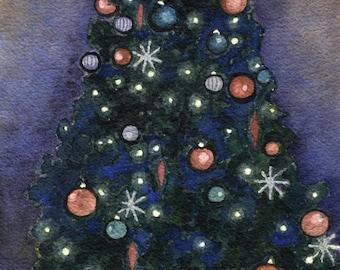 Black Christmas tree watercolor print. Christmas painting. Christmas decor. Christmas wall art. Christmas picture. Christmas artwork.