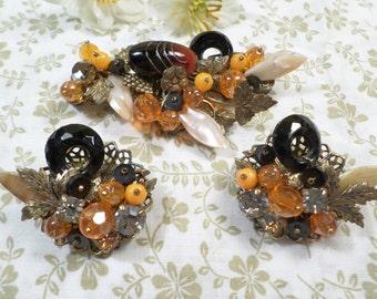 MIRIAM HASKELL! Beautiful Vintage Gold Tone Orange And Black Glass Beaded And Rhinestone Demi Parure DL# 2250