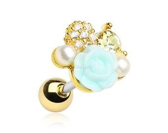 Golden Blossom Rose Sparkle Cartilage Tragus Earring