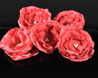 10 pcs Chiffon Flower Peach Color Wedding Craft Supplies, Flower for Decorations