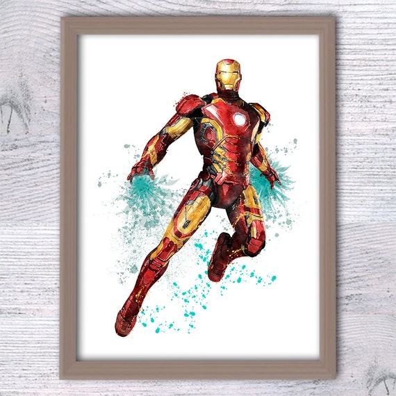 Iron man print Marvel superhero poster Kids room wall art Boys