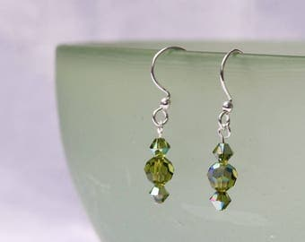 Swarovski  Olivine Crystal Earrings
