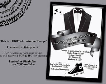 Chucks and Tux Invitation, Tux invitation, Converse Invitation, Chucks Invitation, Chucks Birthday Party, Black and White Invitation
