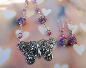 Flower Garden Butterfly Jewelry Set