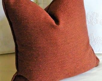 Rust Pillow Cover Woven 18x18 20x20 22x22 24x24