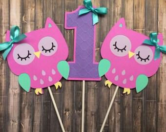 Owl centerpiece, Owl themed centerpiece, 1st Birthday owl decoration, Owl decorations, set of 3 centerpiece