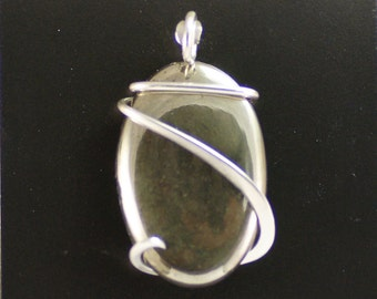 Pyrite Oval Cold Forged Sterling Silver Pendant