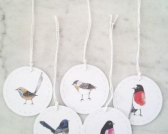 Gift tags set of 5 Birds of Tasmania (medium)