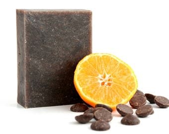 Mocha Valencia Soap • Natural Handmade Soap • Chocolate + Orange Soap • Palm Oil-Free Soap • Vegan Soap • Cocoa Butter Soap • Artisan Soap