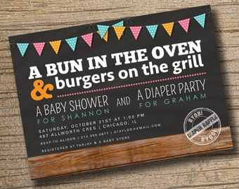 Couples Baby Shower Invitation, Co Ed Baby Shower Invite, Diaper Party, Bun