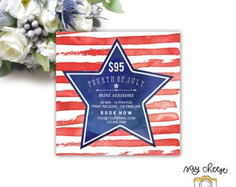 M-25 // 5x5 Fourth of July Mini Session Template, Marketing Board, Marketing Template, Mini Session Marketing, Photography Branding