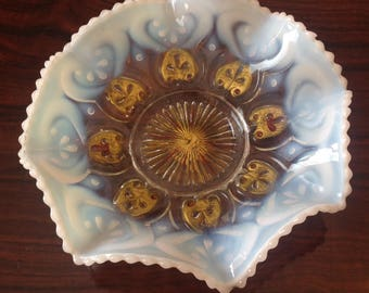 Blue and White with Gold Slag Glass Fluted Dish