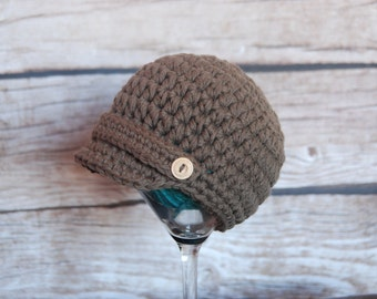 Ready to ship newsboy hat 0-3 months, newsboy hat for baby boy, cotton beanie for boy, photo prop, baby shower gift,  cotton newsboy