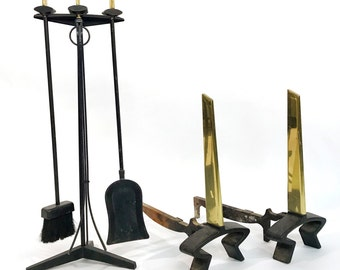 Mid Century Modernist Andirons and Fireplace Tools by Donald Deskey