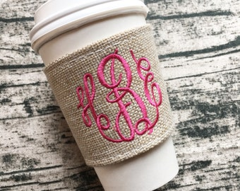Monogrammed  burlap coffee sleeve! Pick monogram color and style. Great gift! Teachers, brides, bridesmaids, friends, coffee lovers...