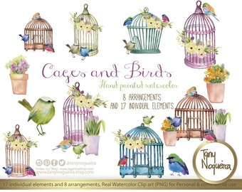 Cages & Birds  Watercolor elements, Clipart, PNG,,, for invitations, blog, cards, quotes, prints,