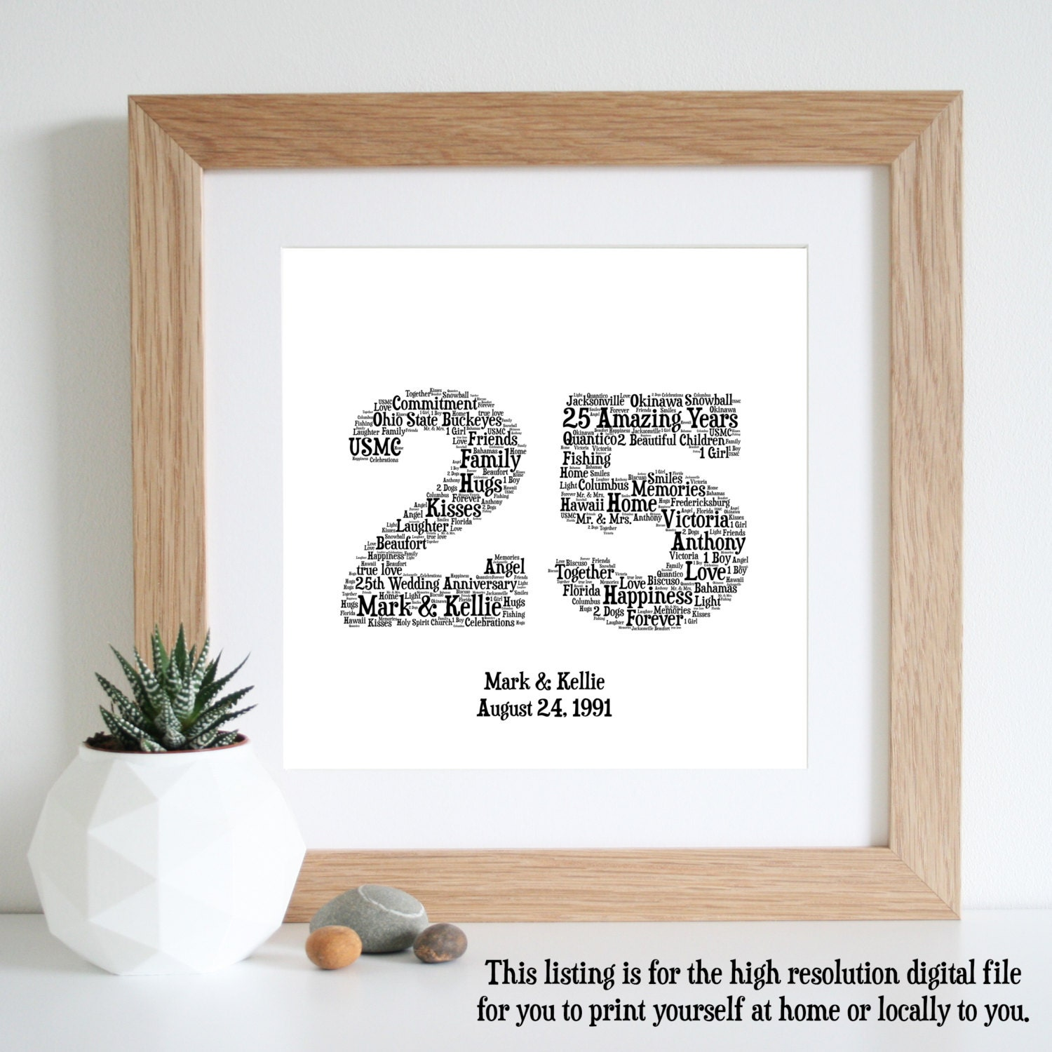 What Is The 25th Wedding Anniversary Gift: 25th ANNIVERSARY GIFT Word Art Silver By WordlyDesigns On Etsy