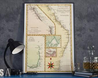 Restored Map of Queensland - Nouvelle Hollande - 1787 -Rigobert  Bonne - Restored Map of Australia Print - Map Print - Home Decor