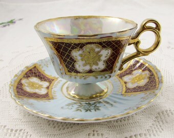 Japanese Tea Cup and Saucer, Blue and Red with Gold Decor, Vintage Bone China