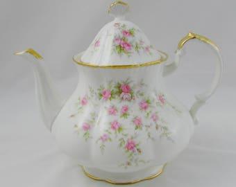 "Paragon ""Victoriana Rose"" Teapot, Vintage Paragon, Bone China Teapot, Rose Teapot"