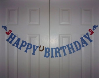 HAPPY BIRTHDAY Letter Banner - Medium Blue, Red & Brown Cardstock Paper Boy Horse Cowboy Garland Party Sign Decoration