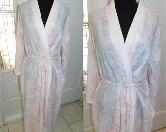 Vtg 50s Floral Spring Lounging Robe Flo Weinberg Size Medium