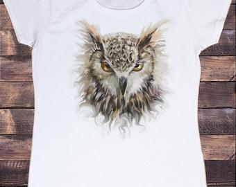 Women's White T-Shirt Owl Icon Face- Tie dye effect- Evil Angry Owl Zen Print TS659