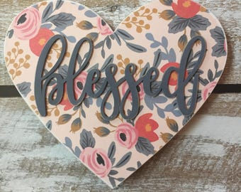 Pink and Grey floral heart wood sign