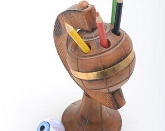 Globe cigarette holder, globe cigarette display, cigarette case, display case cigarette, world globe on stand, rustic desk accessories