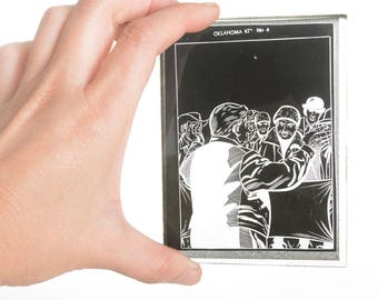 Antique black and white photographic glass negative