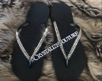 Havaianas embellished in Swarovski crystals / bling flip flops