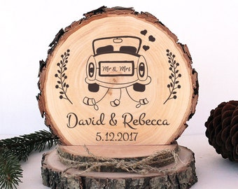 Rustic Wedding Cake Topper. Just Married Cake Topper. Personalized Rustic Wood Cake Topper. Rustic Wedding