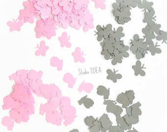 400  Mixed Pink & Grey mini Butterfly- 2 shape Confetti, Cut-outs, or Choose your Colors- Set of 400 pcs