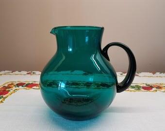 Vintage Aqua Glass Pitcher