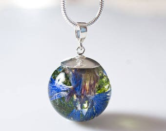 Moss&corn flower resin pendant, floral jewelry, botalical necklace, necklace with silver chain