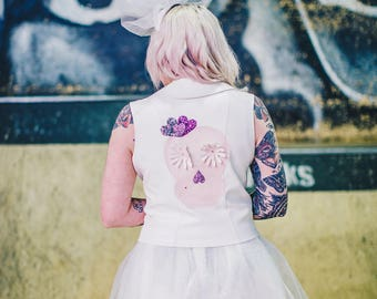 White faux leather handmade jacket with custom back patches | Custom jacket | Alternative Bride | rockabilly | skull | love heart