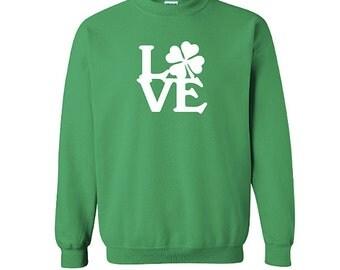 Love Shamrock Sweatshirt, St Patricks Day Shirt, Irish Shirt, Saint Patricks Day Sweatshirt