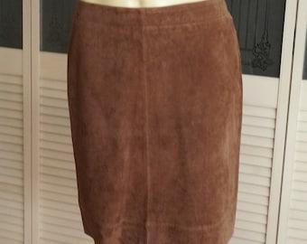 Vintage Brown Suede Leather Flared Skirt Size 8 US UK12 EUR 38