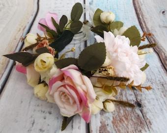 Bridal Hair Flower Garland Shabby Chic Whimsical Maiden Crown Wreath White Wedding Bride Rustic Floral Head Ring Faux Boho Bohemian Hippy