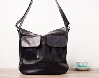 Leather handbag, leather purse, leather messenger bag - The Dark Blue Charlotte