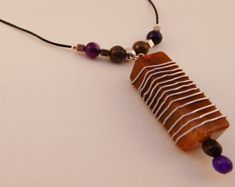 amber wire wrapped square pendant necklace