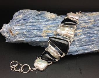 """Pearl Black Onyx Statement Bracelet // 925 Sterling Silver // Toggle Clasp // Size 7"""" to 8"""" Inches"""