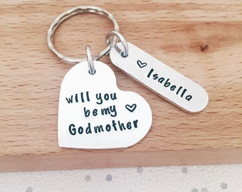 personalised keyring - will you be my godparents - Godmother gift - godparent - godfather gift - personalized keychain - handstamped - UK